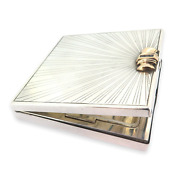 .stunning Art Deco Sterling Silver 14ct Gold Sapphires Compact Case 134g
