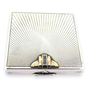 .stunning Art Deco Sterling Silver 14ct Gold Sapphires Compact Case 85g