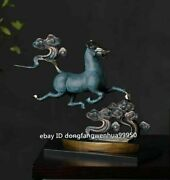 Chinese Copper Bronze Modern Home Art Animal Sculpture Horse Stepped Clouds