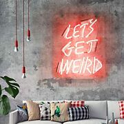 Neon Signs Letand039s Get Weird Pink Neon Sign For Wall Bedroom Funny Wall Sign