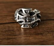 Ww2 German Iron Cross Punk Ring 925 Sterling Silver Withe Snack Repro