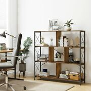 Yitahome 3 Tier Rustic Bookcase Industrial Book Shelf Metal Frame Free Standing