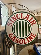 Large Vintage And039and039sinclairand039and039 Double-sided 30 Inch Porcelain Sign W/ Bracket