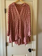 Nwot Women's Plus Pink Red Geometric Floral Hi Low Smock Tunic - 2x - Unbranded