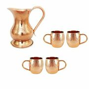 Copper Pitcher And Moscow Mule Mug Set Of 4 Cups Copper Set 4 Mugs With Pitcher