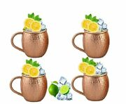 Set Of 4 Moscow Mule Mugs, Pure Copper, Solid Copper Cups