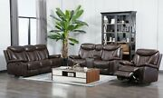 New Luxury 3pc Sofa Loveseat Chair Brown Leather Gel Living Room 5-recliners Set