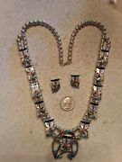 Zuni Indian Pitkin Natewa Owl Squash Blossom Necklace Earrings Sterling 26