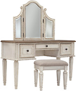 Signature Design By Ashley Vanity And Mirror With Stool Chipped White