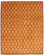 Modern Hand-knotted Carpet 10and0392 X 13and0392 Dark Red Light Gold Wool Area Rug