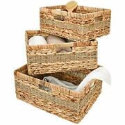 Hand-woven Rectangular Wicker Baskets Set, Water Water Hyacinth And Seagrass
