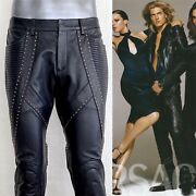 Rare Versace Black Leather Pants Runway Pice Sz. It50 Immaculate Condition
