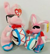 Vintage Energizer Bunny Plush Doll And Ty Beanie Baby Energizer Battery Bunny Toy