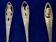 Antique/vintage Sterling Silver Bear Yellowstone Souvenir Spoons Lot Of 3