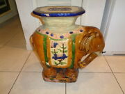 Vintage Large Ceramic Colorful Elephant Plant Stand/garden Bench 23 By 21 By 10