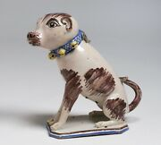 Rare Brussels Faience Ceramic Dog Model - 18th Century / French-belgium Pottery