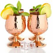 Copper Cognac Glasses Set Of 4-14oz - Solid Copper Snifters - Moscow Mule Mugs