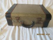 Vintage Striped Tweed Brown 15 Suitcase 1930s 1940s Antique Old Luggage Decor