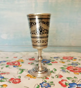 Kubachi Vintage Ussr Niello Gilt Sterling Silver 875 Wine Goblet Cup 49 G Free