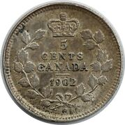 1902-h Canada / Canadian 5 Cent Half Dime Small H - Vf Very Fine Condition