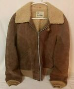 Vintage Gino Leathers Menand039s Bomber Jacket Brown Suede Coat With Liner - Size 42