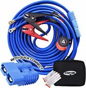 Topdc Jumper Cables W/ Quick Connect Plug 1 Gauge 25 Ft 700amp Heavy Duty Cable