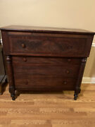 Antique American Empire C. 1840 Flame Mahogany Chest Of Drawers Dresser