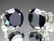 8.00tcw Real Natural Black Diamond Stud Earrings For Men Or Women And 4200 Value
