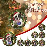 2021 Christmas Ornaments Hanging Decoration Gift Product Personalized Dog Wreath