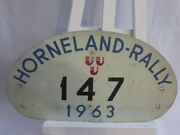 Vintage 1963 Horneland Rally Car Club Rally Plate Plaque Sign Metal 147
