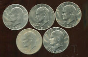 Five 5 Assorted Eisenhower Dollars Bu D105 Various Years And Mints
