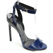 Womens Daniele Michetti Jazz Ankle Strap Pump 39 / 9 Blue Leather Heel Shoes New