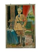 Vintage Indian King Painting Portraitold Painting Wall Decor Collectible-24x36
