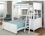 Ne Kids Lake House Twin Loft Bed With Full Lower Bed In White