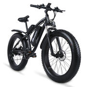 New 26 Electric Bicycle Fat E-mountain Bike 1000w 17ah Snow City Pedal 21 Speed