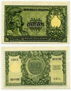 Currency December 31 1951 Italy Fifty Liras Banknote Pick No. 91a Au