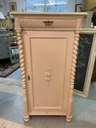 Antique Painted Off White French Cabinet Armoire With Shelves And Key