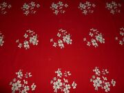 Pretty Vintage Wilendur Tablecloth Large 1940s 1950s Red Dogwood Flowers