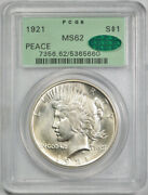 1921 1 Peace Dollar Pcgs Ms 62 Uncirculated Key Date Cac Undergraded Ogh