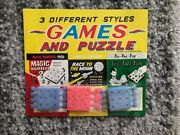 3 Vintage Children's Dime Store Toy Games On Rack Cards Race To Moon Toys Nos