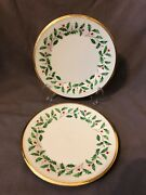 2 Lenox Original Holiday Holly And Berry Dinner Plates