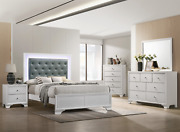 New White Led 5pc Queen King Twin Full Modern Bedroom Furniture Set Bed/d/m/n/c