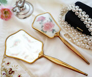 Vintage Dressing Table Set Hand Mirror And Hair Brush Brass Rose Inserts England