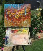 Andnbsp Abstract. Flowers..palette Knife Oil Painting 50x60cm. Impasto.