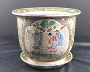 Vintage Large Oriental Pot Vase Matching Plate People Flowers Sign About 10 Y2