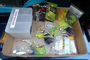 16 - Fishing Lures And Tackle Box - Spinner Baits, New And Used - Wow
