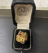 Asian - 14k Gold Antique Twin Dragon Ruby Emerald Ring With Box / Not Scrap, 10k