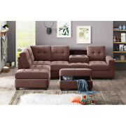 L-shaped Sectional Sofa Reversible Chaise Lounge Couch W/storage Ottoman Holders