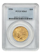 1926 10 Pcgs Ms63 - Indian Eagle - Gold Coin