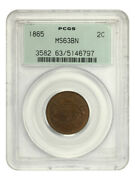 1865 2c Pcgs Ms63 Bn Ogh Old Green Label Holder - 2-cent Piece